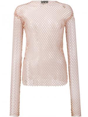 Stretch mesh top Les Animaux. Цвет: телесный