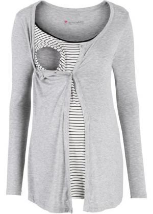 Мода для беременных: футболка с функцией кормления (светло-серый меланж/черный в полоску) bonprix. Цвет: светло-серый меланж/черный в полоску