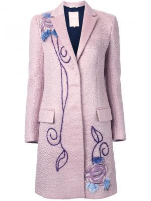 Декорированное однобортное пальто Roksanda. Цвет: розовый и фиолетовый