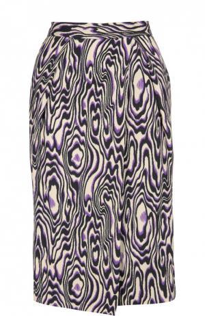 Прямая юбка с запахом и контрастным принтом Dries Van Noten. Цвет: темно-синий