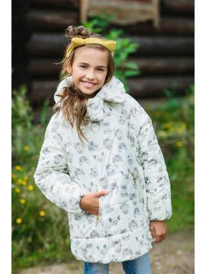 Пальто Кокон принт DUWALI. Цвет: молочный