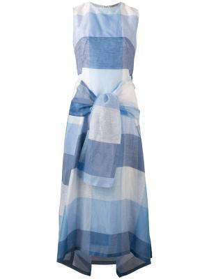 Платье в клетку с завязкой Sportmax. Цвет: синий