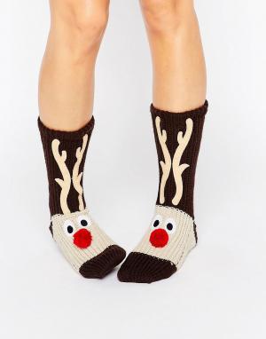 Loungeable Толстые вязаные носки с рождественским дизайном. Цвет: коричневый