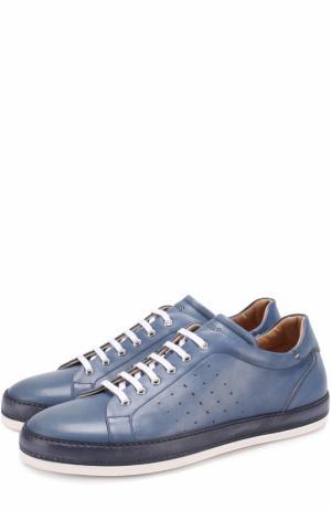 Кожаные кеды на шнуровке с перфорацией W.Gibbs. Цвет: голубой