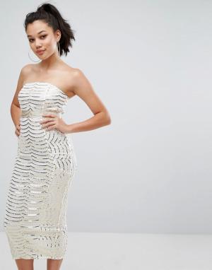 PrettyLittleThing Премиум платье-бандо миди с кружевом и пайетками. Цвет: белый