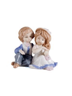 Статуэтка Мальчик и девочка Русские подарки. Цвет: белый, синий