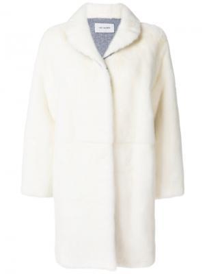 Пальто с норковым мехом Yves Salomon. Цвет: белый