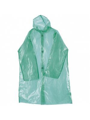 Дождевик на липучках с капюшоном, плотный, зеленый Радужки. Цвет: зеленый