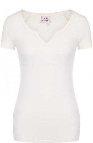 Приталенная хлопковая футболка Deha. Цвет: белый