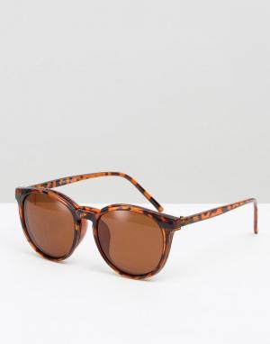 7X Круглые солнцезащитные очки со съемными стеклами. Цвет: коричневый
