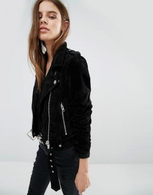 BLANK NYC Замшевая байкерская куртка. Цвет: черный
