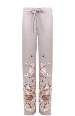 Шелковые брюки с принтом Meng. Цвет: серый