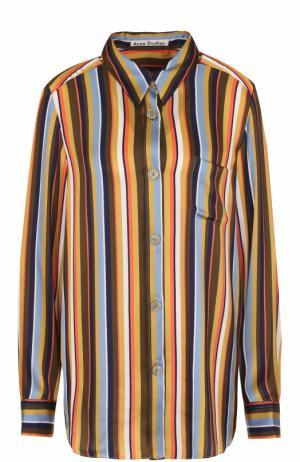 Блуза прямого кроя в контрастную полоску Acne Studios. Цвет: коричневый