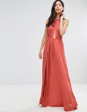 ASOS Пляжное платье макси с плетеным ремешком. Цвет: рыжий