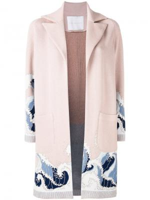 Пальто-кардиган Giada Benincasa. Цвет: розовый и фиолетовый