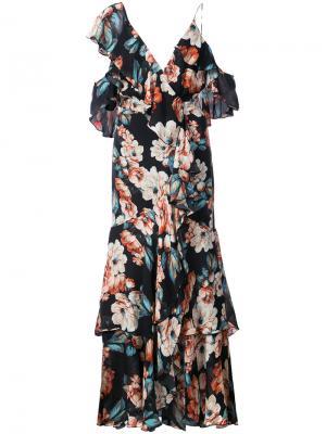 Асимметричное платье Lola с цветочным принтом Nicholas. Цвет: чёрный