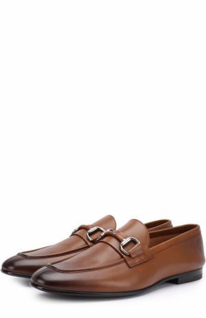 Кожаные лоферы с пряжкой-трензелем Ermenegildo Zegna. Цвет: светло-коричневый