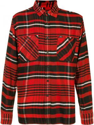 Рубашка в клетку Obey. Цвет: красный