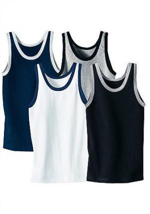 Майки, Le Jogger (4 шт.) AUTHENTIC UNDERWEAR. Цвет: белый + серый мел. + синий морской + чёрный