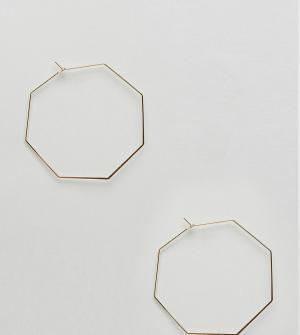 Orelia Большие восьмиугольные серьги-кольца. Цвет: золотой