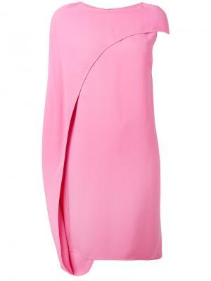 Асимметричное платье-кейп Gianluca Capannolo. Цвет: розовый и фиолетовый
