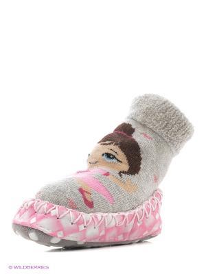 Тапочки-носки противоскользящие BROSS. Цвет: серый меланж