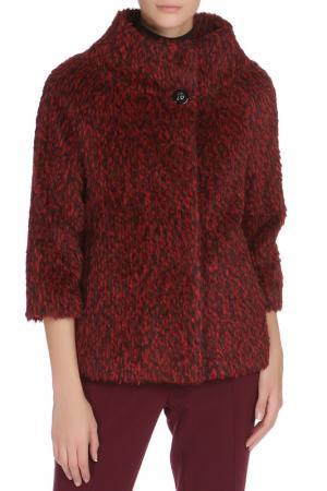 Полуприлегающее пальто с застежкой на кнопки Cinzia Rocca. Цвет: черно-красный
