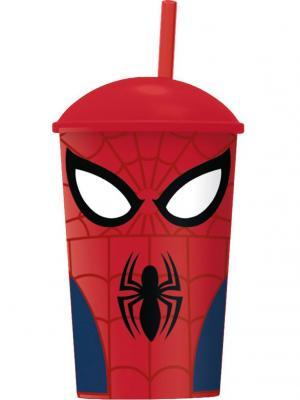 Стакан пластиковый с соломинкой и крышкой (400 мл). Великий Человек-паук Stor. Цвет: красный, черный