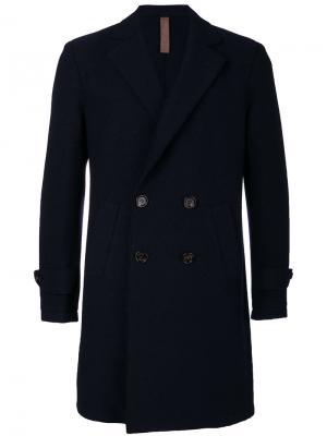 Двубортное пальто Eleventy. Цвет: синий