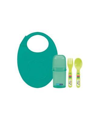 Набор столовых приборов ложка вилка в пенале с силиконовым нагрудником Bebe Due. Цвет: зеленый