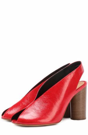 Босоножки из фактурной кожи на наборном каблуке Isabel Marant. Цвет: красный