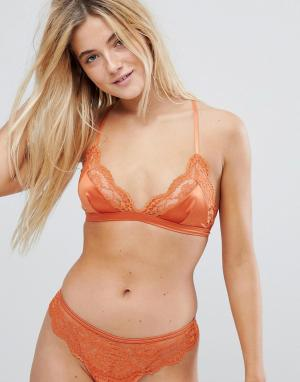 New Look Бралетт из атласа и кружева. Цвет: оранжевый