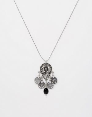 Pilgrim Ожерелье с подвесками-дисками гравировкой. Цвет: серебряный