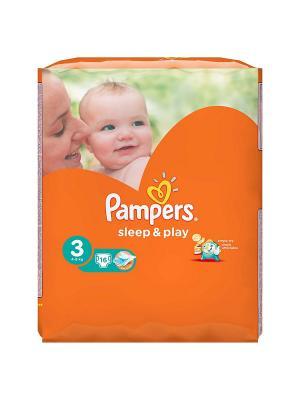 Подгузники Sleep & Play 5-9 кг, 3 размер, 16 шт. Pampers. Цвет: оранжевый