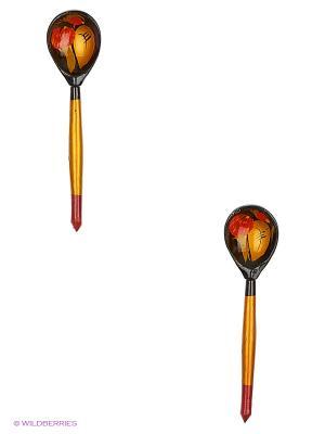 Набор деревянных ложек Сувенир Сувенирыч. Цвет: золотистый, черный, темно-красный