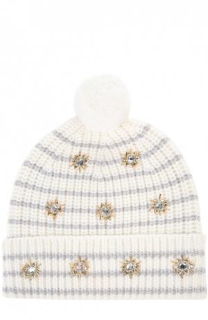 Вязаная шапка с декоративной отделкой Markus Lupfer. Цвет: белый