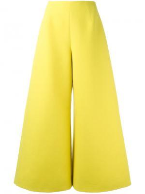 Широкие укороченные брюки Delpozo. Цвет: жёлтый и оранжевый