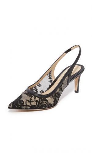 Кружевные туфли на невысоком тонком каблуке Poppy Monique Lhuillier. Цвет: голубой