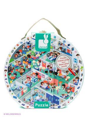Пазл в круглом чемоданчике Больница Janod. Цвет: зеленый