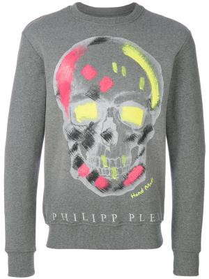 Толстовка с черепом Philipp Plein. Цвет: серый