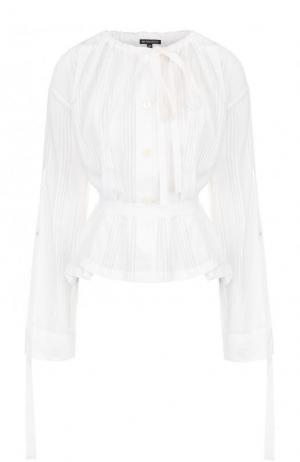Хлопковая блуза с длинным рукавом и поясом Ann Demeulemeester. Цвет: белый