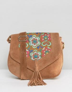 Park Lane Замшевая сумка через плечо с вышивкой и кисточкой. Цвет: рыжий