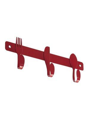 Настенная вешалка с 3 крючками APPETITO Bizzotto. Цвет: красный