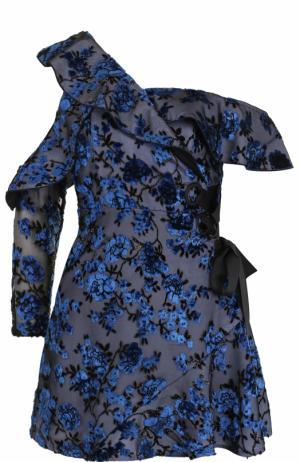 Приталенное мини-платье с бархатной отделкой self-portrait. Цвет: синий