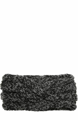 Шерстяная повязка фактурной вязки с отделкой металлизированной нитью 0711. Цвет: серый