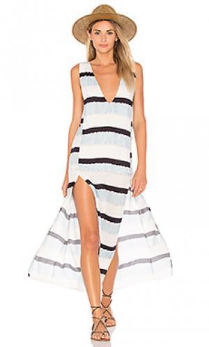 Макси платье с разрезом siena Vix Swimwear. Цвет: синий