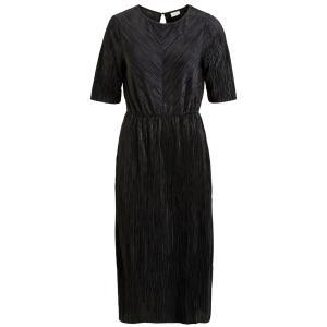 Платье однотонное длинное с плиссировкой и длинными рукавами VILA. Цвет: черный