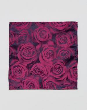 MOSS BROS Платок для нагрудного кармана с цветочным принтом London. Цвет: розовый