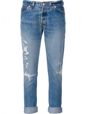 Укороченные джинсы с рваными деталями Re/Done. Цвет: синий
