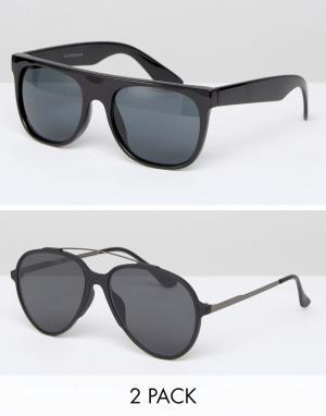 7X Комплект из 2 солнцезащитных очков. Цвет: черный